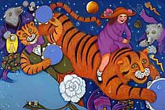 "Girl riding tiger, artwork from ""When the Wind Bears Go Dancing,"" by Phoebe Stone."