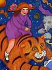 "Girl riding Tiger. Artwork from ""When the Wind Bears Go Dancing"", by Phoebe Stone"